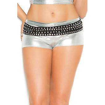 Womens Plus Size Sexy Booty Shorts Wet Look Shiny Rave Boyshort Underwear Panties
