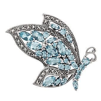 Sterling Silver 7.12ct Blue Topaz & Marcasite Flying Butterfly Brooch