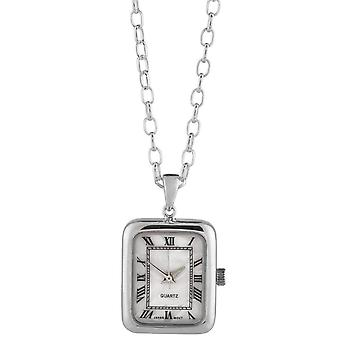Woodford Sterling Silver Rectangular Pendant Watch - Silver