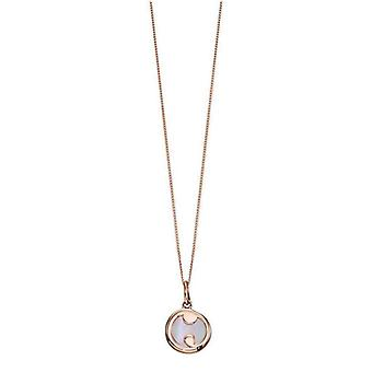 Elements Gold Mother of Pearl Slice Pendant - Rose Gold/White