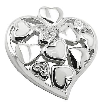Shiny heart pendant silver rhodium-plated pendant with Zircons heart 925 Silver