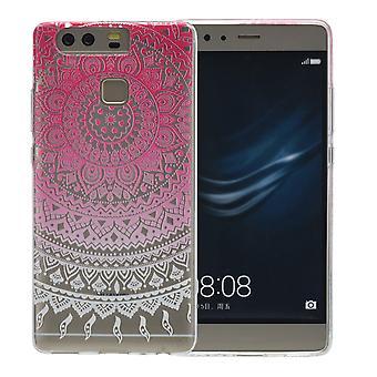 Cubierta de la henna para Huawei P9 además funda protectora silicona rosa sol