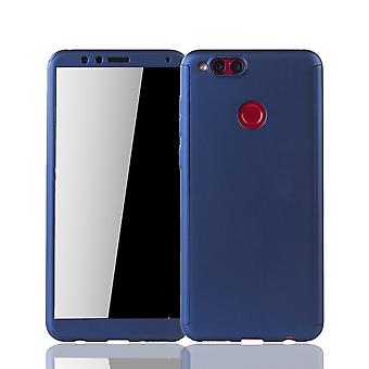 Huawei Honor 7X Handy-Hülle Schutz-Case Full-Cover Panzer Schutz Glas Blau