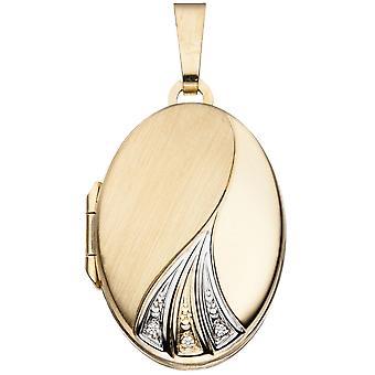 ميدالية قلادة البيضاوي 333 مطلية بالذهب الذهب الأصفر جزئيا الروديوم-جزئيا متجمد