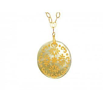 Naszyjnik - wisior - medalion - złoto pozłacana - matka Pearl - złoty - szary - 5 cm