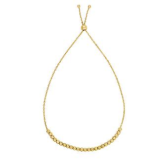 14k Yellow Gold Adjustable Diamond Cut Bead Charm Bolo Bracelet, 9.25