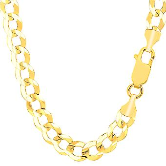 14k Yellow Solid Gold Comfort Curb Chain Bracelet, 8.2mm, 8.5