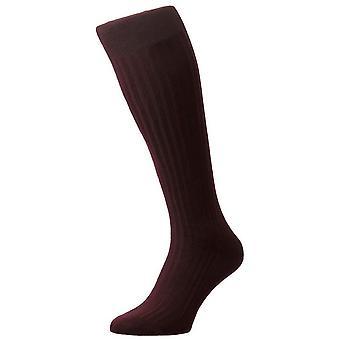 Pantherella Danvers costilla algodón Lisle sobre los calcetines de la pantorrilla - Borgoña