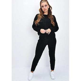 Câble tricot pyjama Co-Ord Set Black