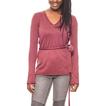 Laura Scott of warm ladies fine knit sweater with scarf Bordeaux