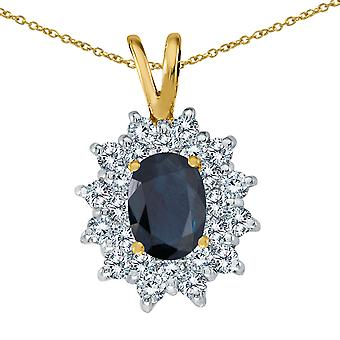 14k Yellow Gold Sapphire Oval Pendant with Diamonds and 18