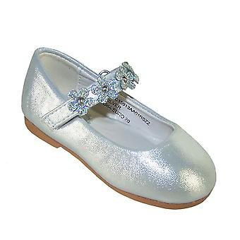 Infant girls silver occasion shoes with sparkly flowers