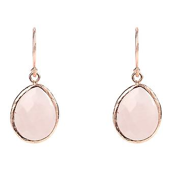 925 argent Sterling Dangle petit Or Rose boucles d'oreilles rose cristal de Quartz