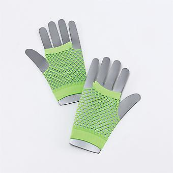 Fishnet Gloves. Short Neon Green