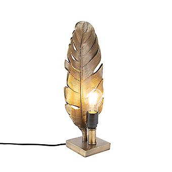 QAZQA Art Deco Table Lamp Bronze with Marble Base - Leaf