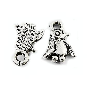 Packet 20 x Antique Silver Tibetan 11mm Penguin Charm/Pendant ZX00875