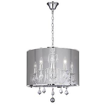 Searchlight 4805-5CC Olivia 5 Light Chrome Finish Ceiling Pendant