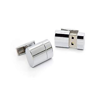 Working 8GB USB Flashdrive Memory Stick Round Novelty Cufflinks Silver Tone