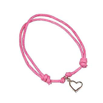 Jo For Girls Sterling Silver Heart Charm Adjustable Pink Cord Bracelet