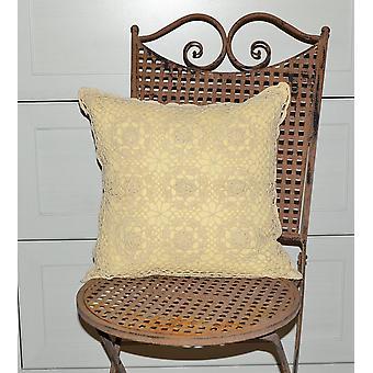 Romantyczny Hossner szydełkowane poduszki okładka domek vintage shabby natura 40 x 40 cm