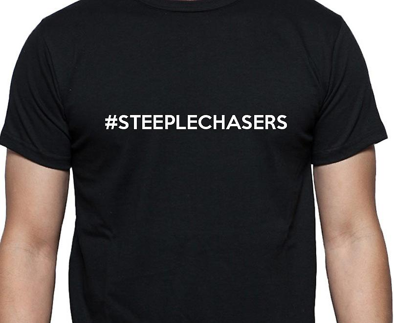 #Steeplechasers Hashag Steeplechasers Black Hand Printed T shirt