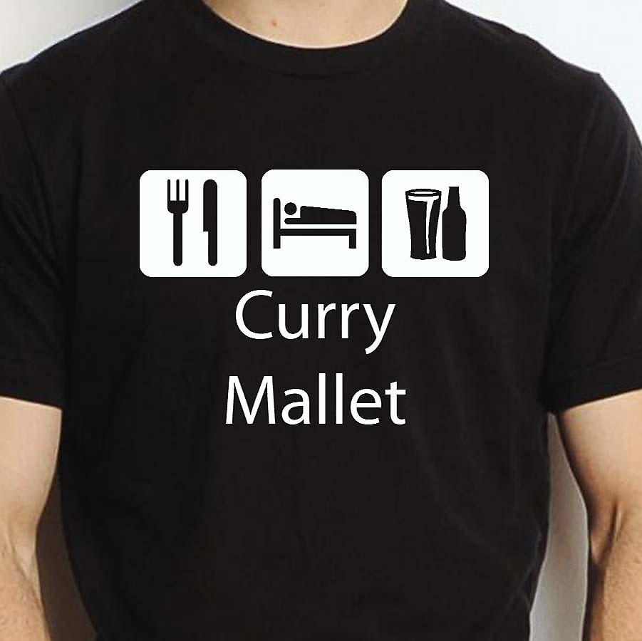 Eat Sleep Drink Currymallet Black Hand Printed T shirt Currymallet Town