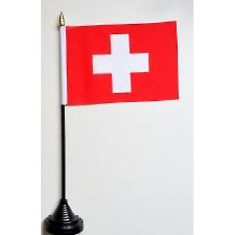 Switzerland Table Flag with Stick and Base