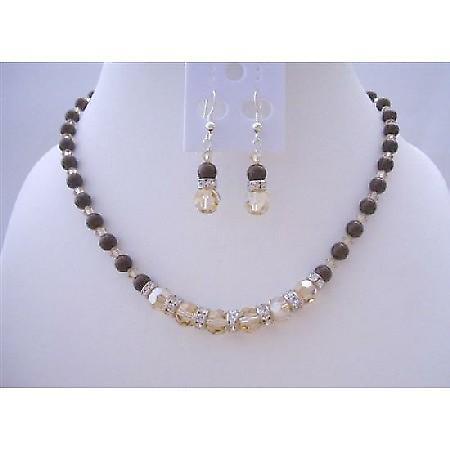 Swarovski Maroon Pearls Jewelry w/ Swarovski Smoked Topaz 2X Crystals