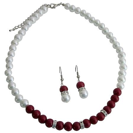 Red & White Pearls Rondelle Rhinestone Spacer Beautiful Jewelry Set