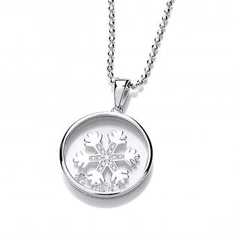 Cavendish French Celestial Silver and CZ Snowflake Pendant with Silver Chain