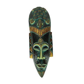 Hand Carved Wood Indonesian Jenggot Wall Mask Sea Turtle Design