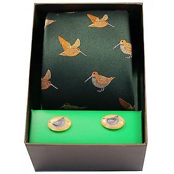 David Van Hagen Woodcocks Tie and Cufflink Set - Green