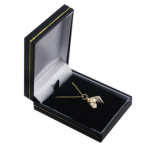 9ct Gold 16x18mm Horse's Head Pendant with a cable Chain 16 inches Only Suitable for Children