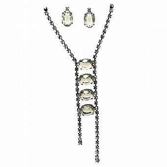 Black Smokey Crystal Necklace & Earring Set By TOC