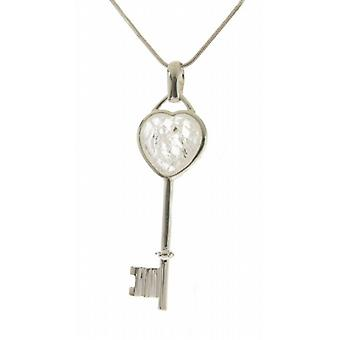 "Cavendish French Silver and quartz heart key pendant with 16 - 18"" Silver Chain"