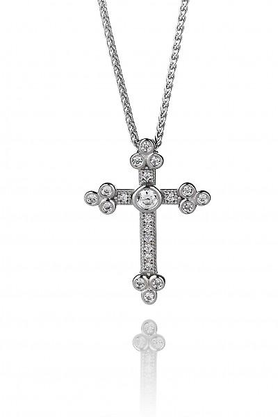 Cavendish French Silver and CZ Cathedral Cross Pendant