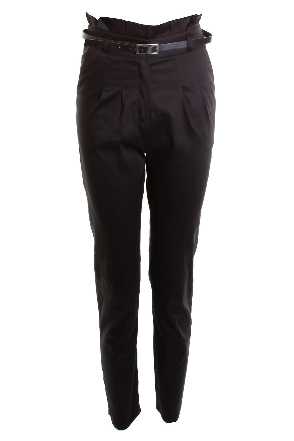 New Ladies Belted Chino Smart Straight School Girls Women's Trousers