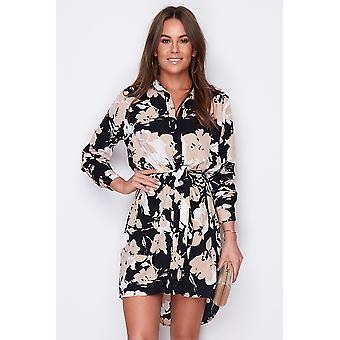 Slips midja blommig löv Print skjorta klänning