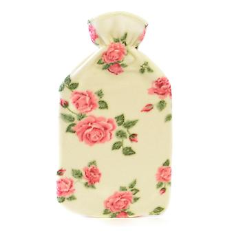 Lightweight Fleece Cover 2L Hot Water Bottle: Cream Roses