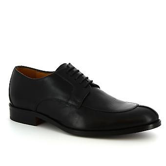 Leonardo skor mäns handgjorda Lace-UPS eleganta skor i Svart kalvläder