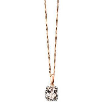 Elements Gold Diamond and Morganite Pendant - Pink/Silver/Rose Gold