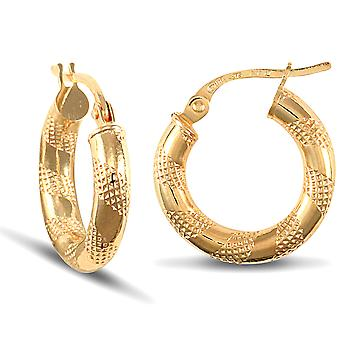 Jewelco London Ladies 9ct Yellow Gold Textured Striped 3mm Hoop Earrings 16mm
