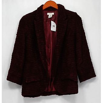 BCNU Blazer 3/4 Sleeve Open Front w/ Mock Pockets Red