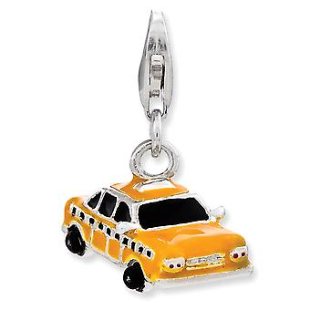 925 Sterling Silver Rhodium-plaqué Fancy Lobster Closure Enameled Taxi Cab With Lobster Clasp Charm