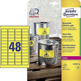 Avery-Zweckform L6103-20 Labels (A4) 45.7 x 21.2 mm Polyester film Yellow 960 pc(s) Permanent All-purpose labels, Weathe