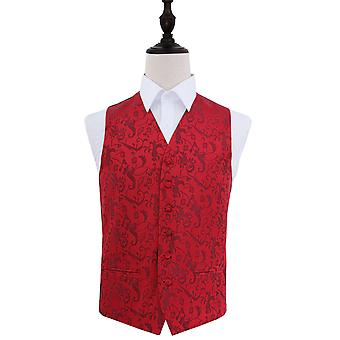 Burgundy Passion Floral Patterned Wedding Waistcoat
