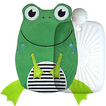 Hugo Frosch Eco Hot Water Bottle With Luxury Frog Cover 0.8L