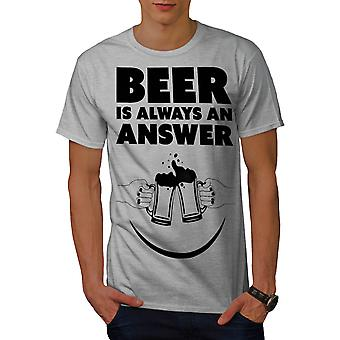 Beer Answer Cool Funny Men Grey T-shirt | Wellcoda