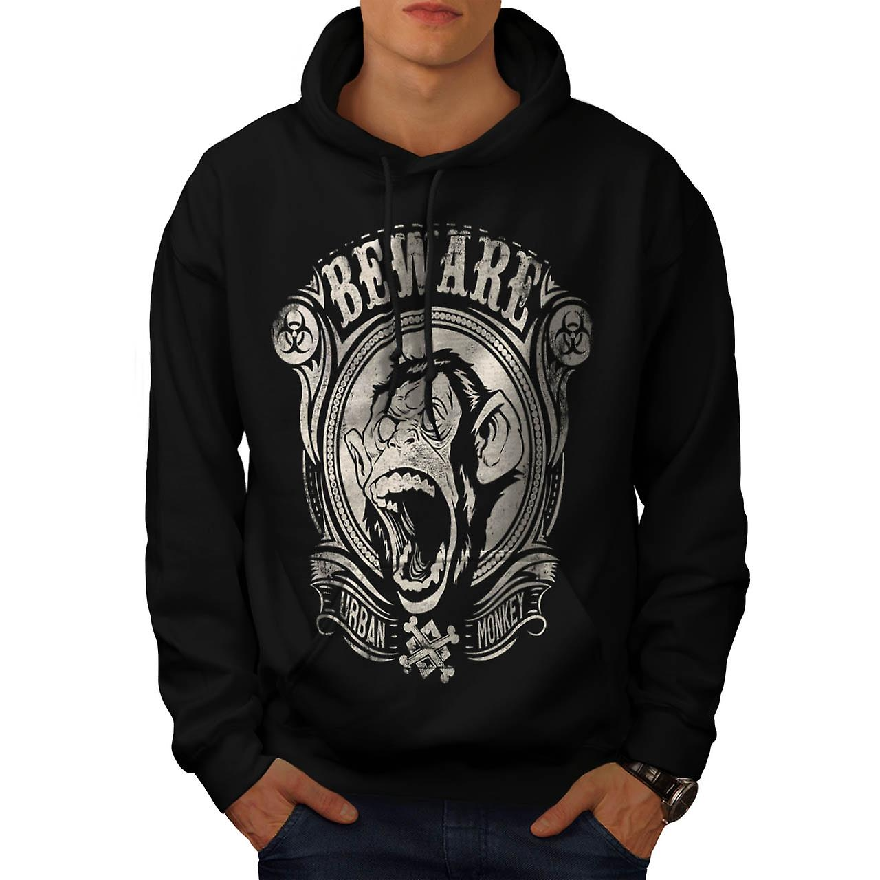 Beware Urban Monkey Danger Chimp Men Black Hoodie | Wellcoda