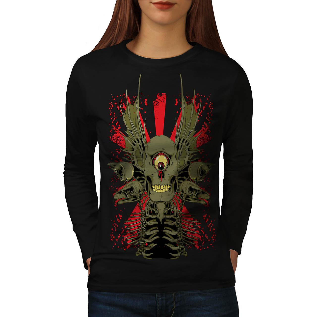 Scary Evil Cyclops Horror Skull Women Black Long Sleeve T-shirt | Wellcoda